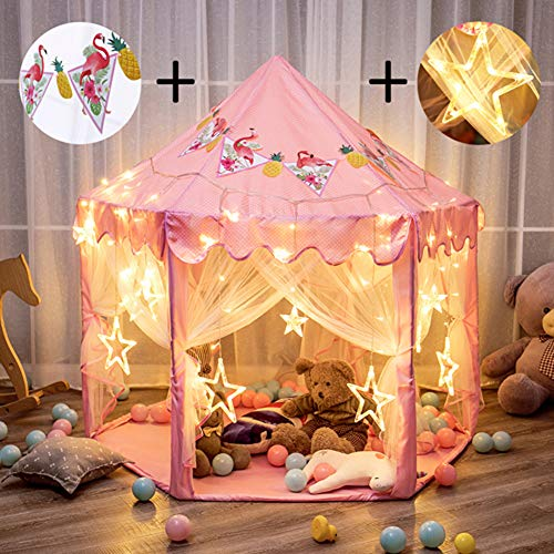 "Twinkle Star 55""x 53"" Princess Castle Play Tent Girls Playhouse with 138 LED Star String Lights and Banners Decor, Kids Game House for Indoor Outdoor Game(Pink) by Twinkle Star"