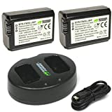 Wasabi Power NP-FW50 Camera Battery (2-Pack) and Dual USB Charger for Sony...