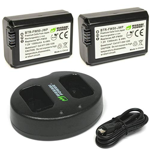 (Wasabi Power NP-FW50 Battery (2-Pack) and Dual USB Charger for Sony Alpha a5100, a6000, a6300, a6400, a6500, Alpha a7 II, a7R, a7R II, a7S, a7S II, Cyber-Shot DSC-RX10 II, RX10 III, RX10 IV and More)