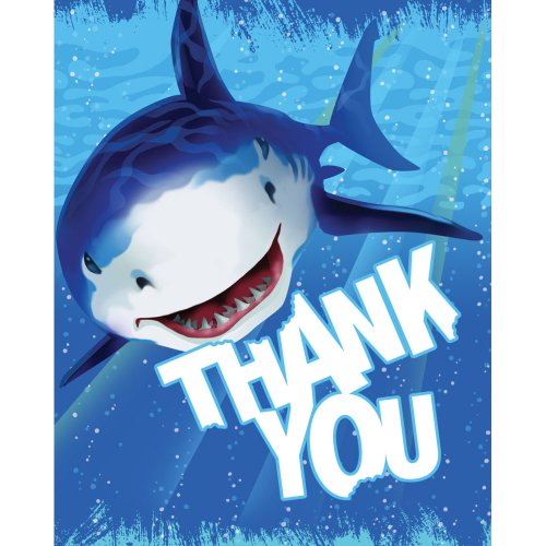 (Creative Converting Shark Splash 8 Count Thank You)
