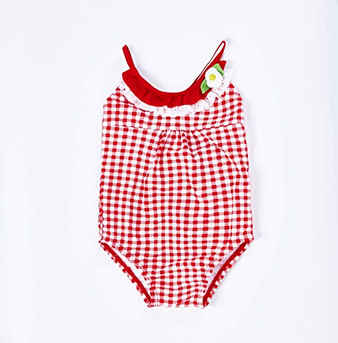 Baby Girls Adorable Swimsuits One Piece Toddler Bikini Ruffle Detail On Bum and Collar Swim Bathing Suit Cross Back Red Grid for 24 Month