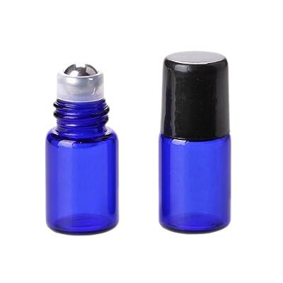 25paquetes multicolor 2ml Aceites Esenciales Roller Botellas de cristal Mini recargable vacío aromaterapia Loción ojo crema bálsamos labiales rollo en botellas de cristal bola de rodillo de me