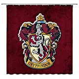 AMNYSF Gryffindor College Badge Harry Potter Hogwarts Magic School Decor Red Shower Curtain,70x70 Inches Waterproof Polyester Fabric Bathroom Accessories Curtains with 12pcs Hooks