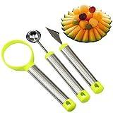 #6: 3 Pcs/Set Stainless Steel Melon Baller Scoop Fruit Spoon Ice Cream Dessert Engraving Flower Carving Knife Scoop Kitchen Tool