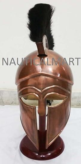 Mart Medieval - Casco Espartano de esquí Griego con Pluma Negra: Amazon.es: Deportes y aire libre