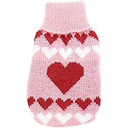 uxcell Ribbed Cuff Heart Pattern Pet Dog Cat Apparel Sweater XXS Pink Red