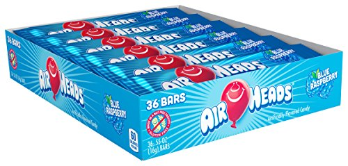 Airheads Candy Individually Wrapped  Bars, Blue Raspberry, Non Melting Easter Basket Candy, 0.55 Ounce (Pack of 36)