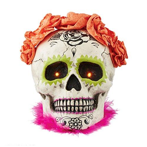 Department 56 Halloween Skeletons Day of the Dead Lit Skull Figurine, 5 (Dead Grandma Halloween)