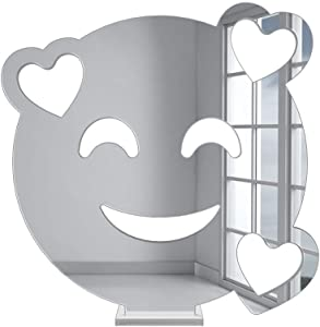 4ArtWorks - 3D Acrylic Emoji Table Decor (in Love Face, Silver Mirror) | Fun Art Display Pieces for Shelves, Bedrooms, Dorms, Bathrooms, Desks & Workspaces | Great Decorative Gift Idea (6