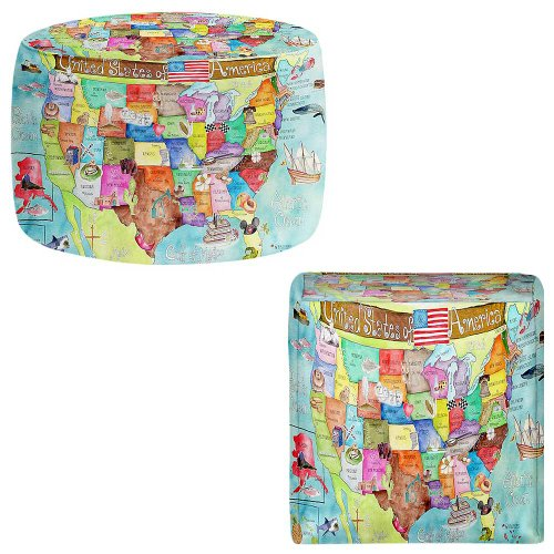 Foot Stools Poufs Chairs Round or Square from DiaNoche Designs by Marley Ungaro - United States MAP by DiaNoche Designs