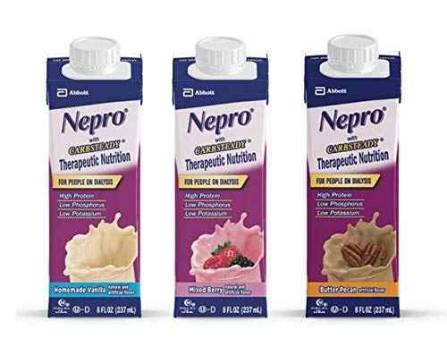 Nepro with Carb Steady Variety Pack 24-8 oz. Containers (Homemade Vanilla, Mixed Berry, Butter Pecan) by Abbott