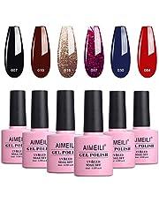 AIMEILI Soak Off UV LED Vernis à Ongles Gel Semi-Permanent Lot Color Mix/Multi-Colored Set Ensemble de Couleurs 6 X 10ml - Kit 21