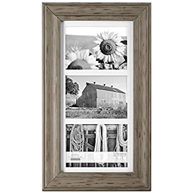 Malden International Designs Whitman Gray Wash Matted 3 Opening Collage Wood Picture Frame, 5 by 7-Inch