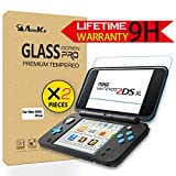 New Nintendo 2DS XL / 2DSLL Screen Protector (2x Top Tempered Glass + 2x Bottom Glass), AnoKe Anti-Scratch Tempered Glass Film Shield Games Console Joy Con Accessories Case For Nintendo Switch 2Pack