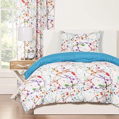 Splash 3-piece Comforter Set Queen Kids & Teens, Abstract Graphic Paint Splat Pattern Reversible Bedding, Green Orange Purple Red White, Colorful and Fun! ()