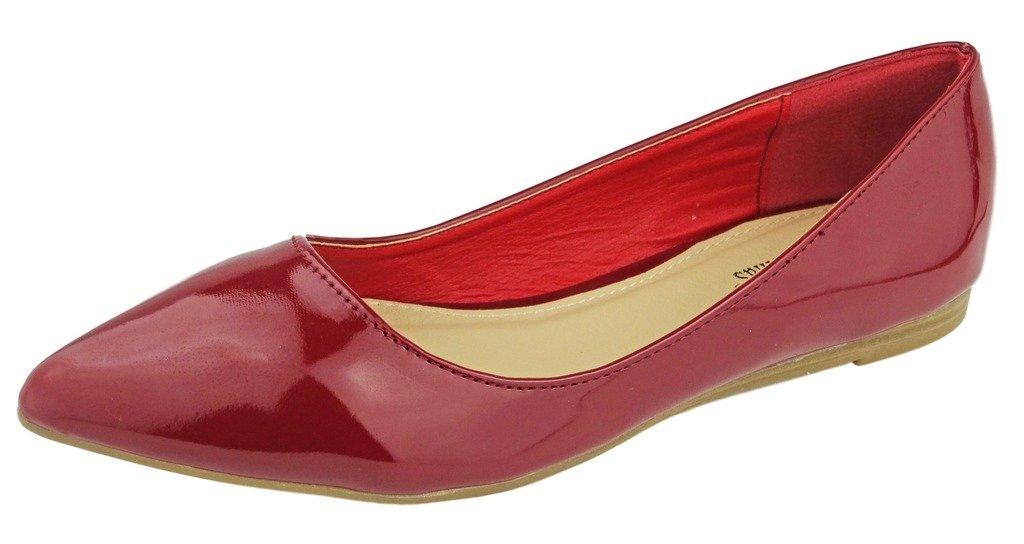 Pierre Dumas Women's Abby-10 Vegan Leather Pointed Toe Slip-On Fashion Dress Flats Shoes B01MYU73XU 9 B(M) US|Red Patent