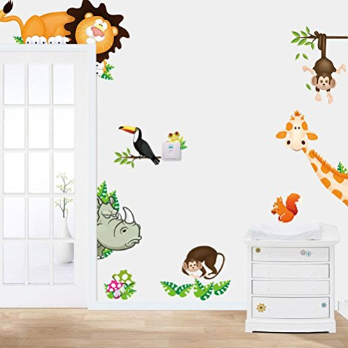 Wall Sticker Cartoon Animals, Keepfit Kids Favoriate Home Decors Jungle Theme Wall Decal for Baby Nursery Playroom