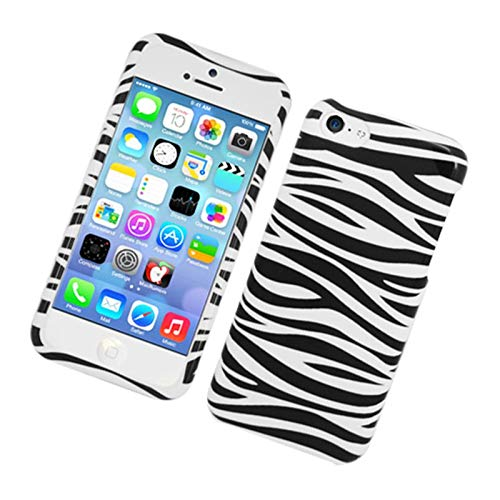 Insten Zebra Hard Snap-in Case Cover Compatible with Apple iPhone 5C, Black/White