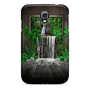 PxA9876vmGB Tpu Phone Cases With Fashionable Look For Galaxy S4 - Painted Waterfall 3d Black Friday