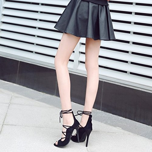 RAZAMAZA Mujer Moda Peep Toe Tacon Alto Sandalias Stylish Cordones Tacon De Aguja Zapatos Negro
