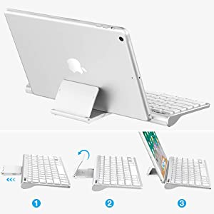 Nulaxy KM13 Wireless Bluetooth Keyboard Sliding Stand Compatible Apple iPad iPhone Samsung Android Windows Tablets Phones Keyboard - Silver (Color: Silver)