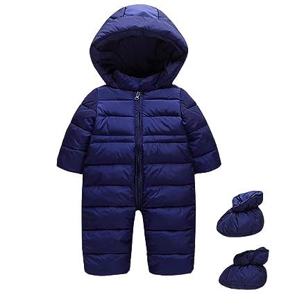 Traje de Nieve Bebé con Botines Pelele Mameluco con Capucha Manga Larga Monos Ropa de Invierno