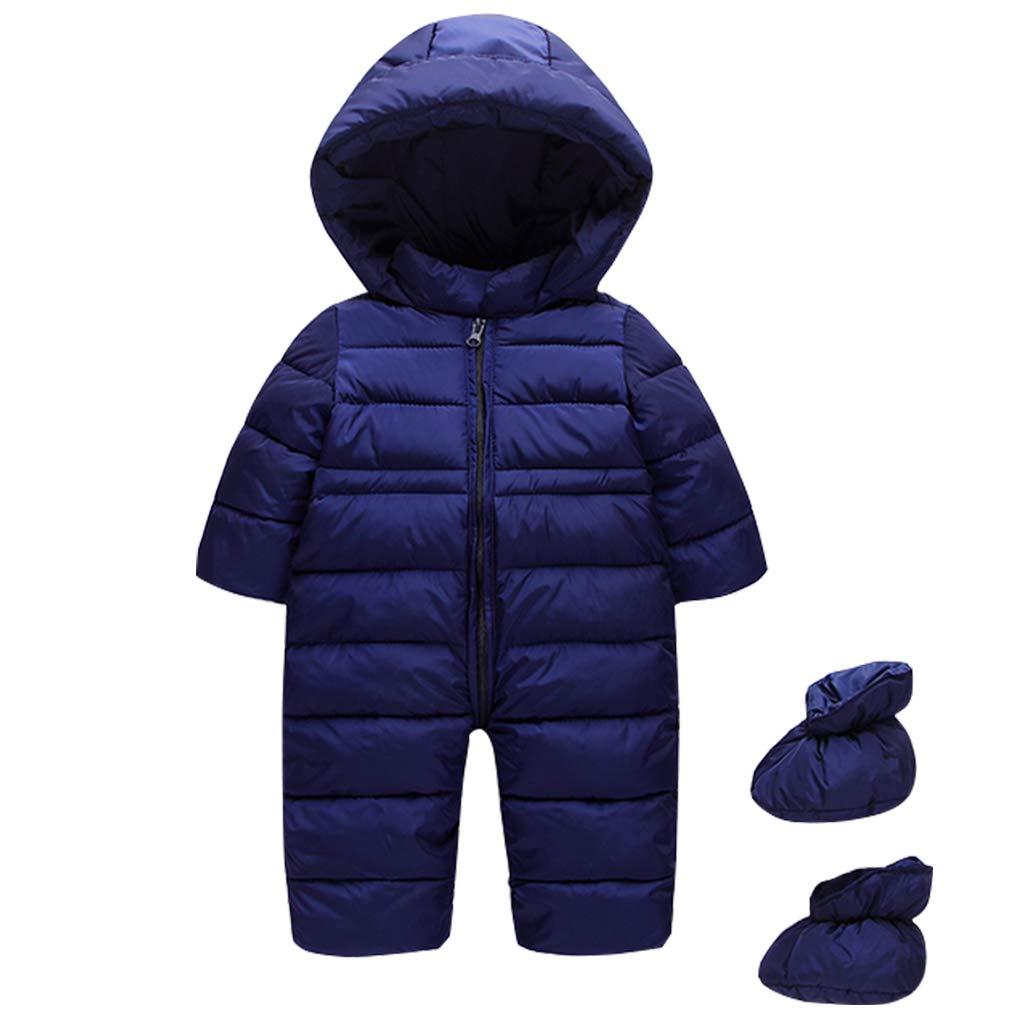Baby Schneeanzü ge mit Fü ß linge Winter Overall Mit Kapuze Mä dchen Jungen Dicke Strampler Outfits fü r 6-24 Monate