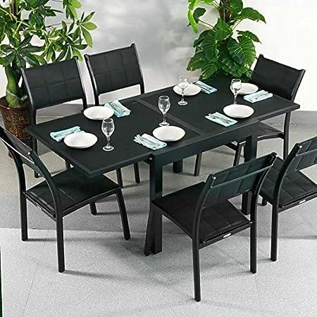 Ruby Mesa de Jardín y 6 Sillas Lea en Negro sin Cojines | Lazy Susan Muebles de Jardín: Amazon.es: Hogar