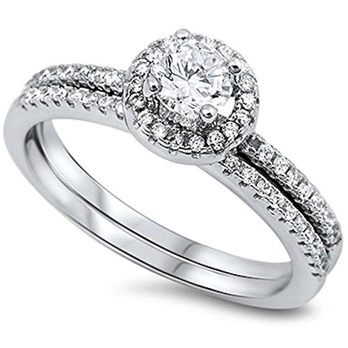 1CT Halo Style Cubic Zirconia 2 Rings Set .925 Sterling Silver Ring Sizes 5-11