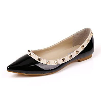a241c4f25bef MAIERNISI JESSI Women s Pointed Toe Rivets Studded Ballet Flats Shoes Black  34 ...