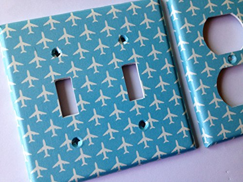 Blue Airplane Light Switch Cover - All Size Light Switchplates Offered