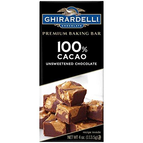 Ghirardelli Chocolate Premium Baking Bar 100% Cacao Unsweetened Chocolate, 4.0 OZ (4 - Bar Baking