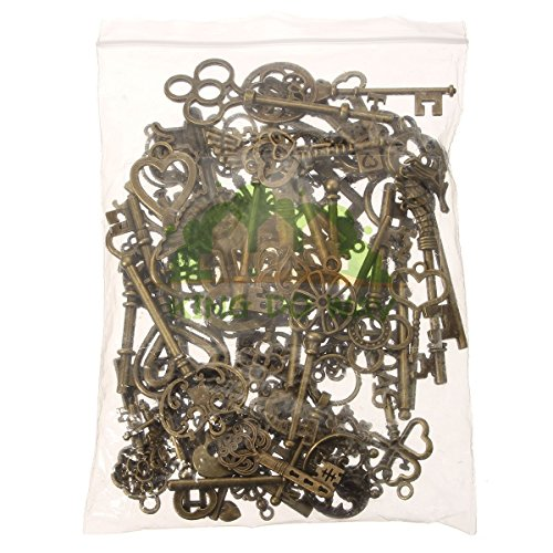 Bestsupplier 69pcs Antique Vintage Bronze Skeleton Key Charms Set DIY Necklace Pendant Jewelry Making Supplies