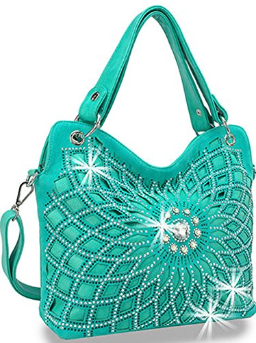 - Zzfab Double Handles Starburst Bling Purse Turquoise