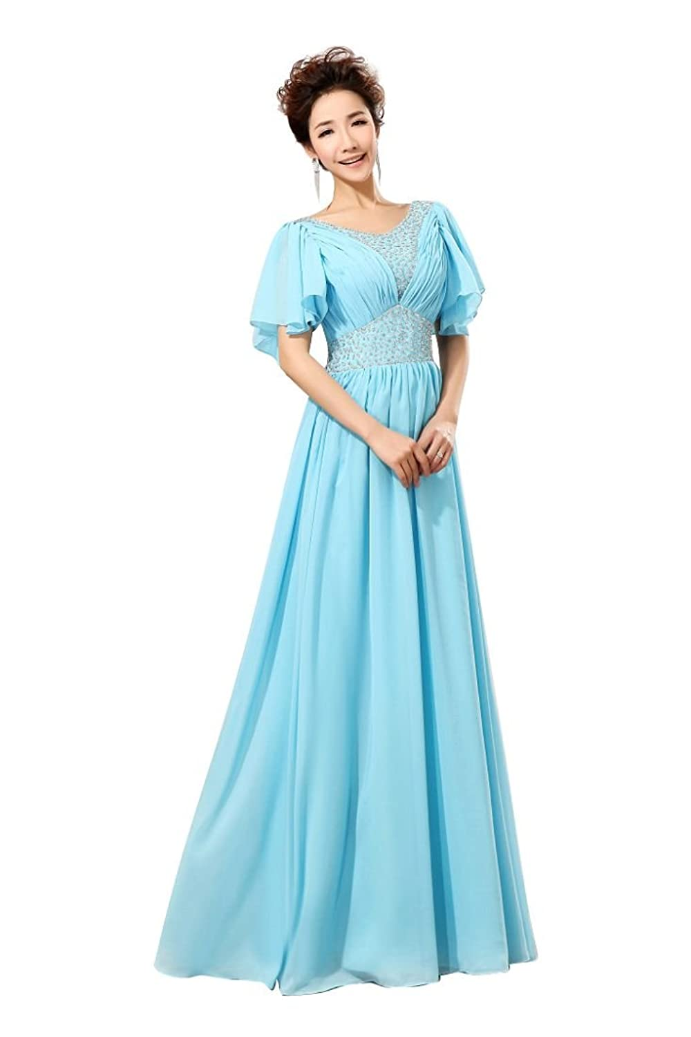 Beauty-Emily Buble Sleeve Sweat Heart Long Chiffon Party Dress Evening Gowns