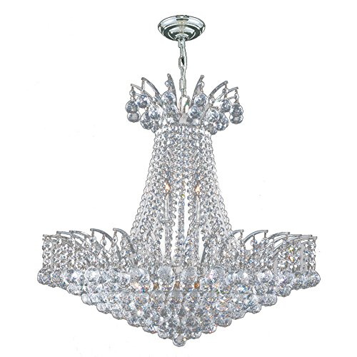Worldwide Lighting Empire Collection 11 Light Chrome Finish Crystal Chandelier 24