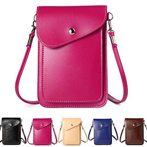 ZZJ Women's PU Leather Crossbody Bag Wallet Case Purse Pouch for Samsung Galaxy Note 8 / S8 Active / S8+ / S8 / S7 Edge / Motorola Moto G5s G5 Plus / G4 Plus / OnePlus One 5T 3T (1 - Magenta)