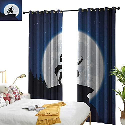 WinfreyDecor Insulated Sunshade Curtain Wolf Full Moon Night Sky Growling Werewolf Mythical Creature in Woods Halloween Set of Two Panels W84 x L96 Dark Blue Black -