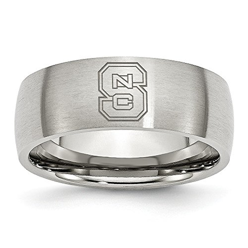 (Jewel Tie Size 7.5 - Stainless Steel North Carolina State University Laser Etch Ring (8mm))