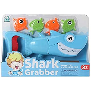 Shark Bath Toys for Toddlers - Squeeze Red Trigger to Open Mouth of Shark and Grab The Fish - Shark Grabber Includes 4 Sinking Fish, Baby Bath Toy for Boys and Girls