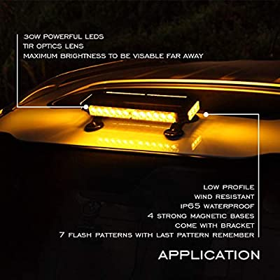 AT-HAIHAN Amber Mini Lightbar Rooftop Emergency Hazard Warning Strobe Light w/Four Strong Magnetic Base, 30W LED, IP65 Waterproof for Snow Plow, Trucks or Construction Vehicles: Automotive