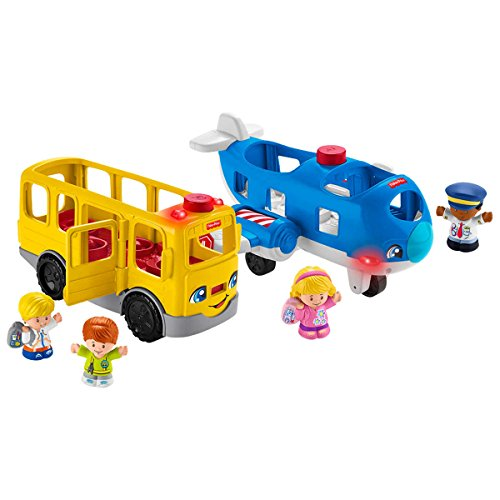 Fisher-Price Interactive Sit with Me School Bus and Travel Together Airplane Bundle with 4 Little People:Bus Driver Emily, Pilot Kurt, Eddie and Emma. Playtime Activated Fun Lights, Sounds and - Bus Playtime