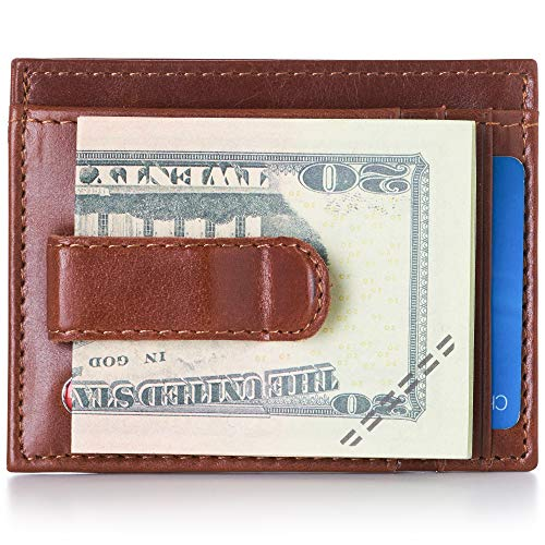 Alpine Swiss Men's Leather Money Clip Front Pocket Wallet Cr