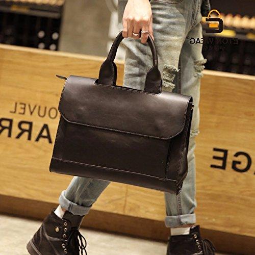 ZHUDJ Original New Tide Package Fashion Casual Men'S Bag Men'S Retro Shoulder Bag Business Briefcase British Wind Hand, Black Brown