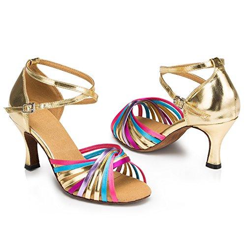 Tda Vrouwen Versieren Met Knoop Glitter Latin Dance Ballroom Tango Salsa Strappy Sandalen Veelkleurig