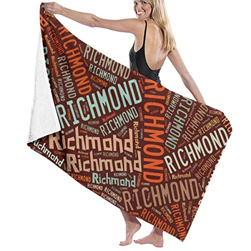 X-JUSEN Richmond - American Surname Bath Towels Bath Sheet, Beach Hand Turkish Towel Blanket Set for Pool and Gym ()
