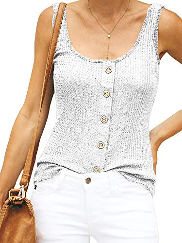 Niitawm Womens Sleeveless Henley Shirts Button Waffle Slim Fit Sexy Round Neck Tank Tops (White, Large)