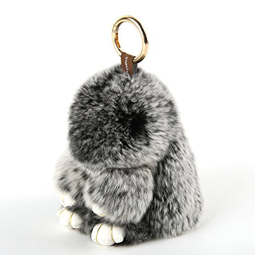 YISEVEN Stuffed Bunny Keychain Toy - Soft and Fuzzy Large Stitch Plush Rabbit Fur Key Chain - Cute Fluffy Bunnies Floppy Furry Animal Doll Gift for Girl Women Purse Bag Car Charm - Black by YISEVEN