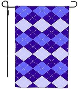 Rikki Knight Triple Blue Argyle Design Decorative House or Garden Full Bleed Flag, 12 by 18-Inch