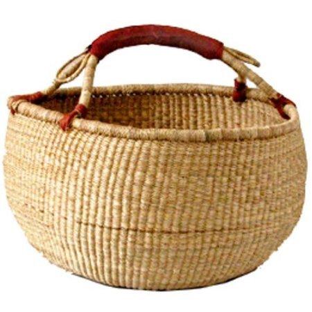 Bolga Baskets International Large Market Basket w/ Leather Wrapped Handle (Natural)